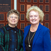 Dr. Ann Lewicki (right) pictured with friend Elsie Misner, '56